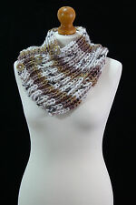 Hand Made - Brown Multicolour Hand Knitted Scarf - Wrap Scarf With Buttons