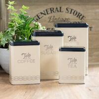 Cream Black Vintage Flour Storage Tin Tea Coffee Sugar Kitchen Canisters Set