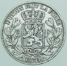 More details for belgium, leopold ii, 5 francs (5 frank), 1874 silver coin vf