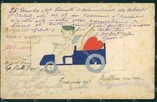 Art Nouveau Angel Car OPF postcard MACCHIE STAINS cartolina QT5828