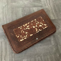 """100% Vtg genuine mexican cowhide leather Hand Tooled Purse vintage 10"""" x 6"""""""