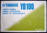 YAMAHA YB100 MOTORCYCLE HANDBOOK/MANUAL UNDATED #506-28199-60 (USA)