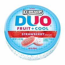 ICE BREAKERS DUO Fruit + Cool Sugar Free Mints (Strawberry, 1.3-Ounce Pack of 8)