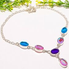"""Mystic Topaz Gemstone Handmade Ethnic Fashion Jewelry Necklace 18"""" SN-527"""