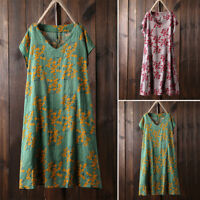 Women Vintage Summer T-Shirt Dress V Neck Floral Print Loose Sundress Plus Size