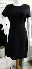 Karl Lagerfeld Black Floral Lace Shift Dress Women Size 10