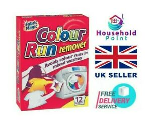 Magic Colour Run Remover 12 Sheets Wash Clothes Avoid Prevent Mixed Laundry Uk