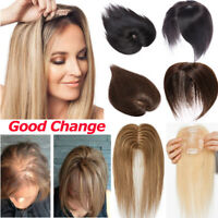 Human Hair Topper Hairpiece Top Cover Thin Clip In Silk Momo More Density Wig US