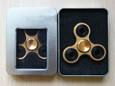 Tri-Spinner Fidget Toy Metal EDC Hand Finger Spinner For Autism and ADHD Gold