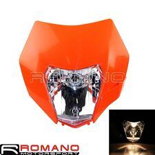Headlight Fairing Head Front Light Orange Universal For KTM CR RMZ DR Supermoto