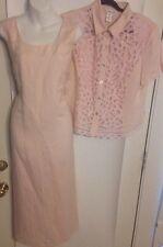 NWT $99 Coldwater Creek Size P14 Dress Pink Linen Blend Jacket Battenberg Lace