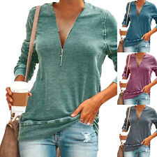 Womens Ladies Zip V Neck Long Sleeve T-Shirt Loose Casual Tops Blouse Plus Size