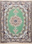 """Vintage Geometric Hand-knotted Nain Area Rug Green Oriental Carpet 2' 0"""" x 2' 4"""""""