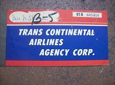 vintage Trans Continental Airlines 1960 Passenger Ticket Coupon / NY to Miami RT