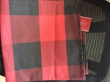 """Pottery Barn 24"""" Buffalo CHECK PLAID Pillow Cover Black and Red ~NWT~Winter"""