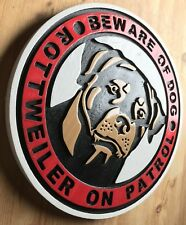 Beware of Dog Rottweiler Sign 3D routed carved wood sign Custom