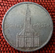 Germany Nazi 5 Reichsmark Postdam Church 1934 J .900 Silver Lot 5J