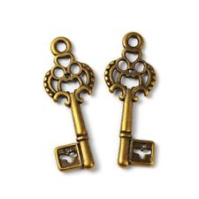 6 Skeleton Key Charms Antique Bronze Tone Steampunk Supplies 2 Sided 28mm