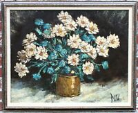 1960s Vintage Botanical Floral Still Life Original Oil Painting by Joseph Duv