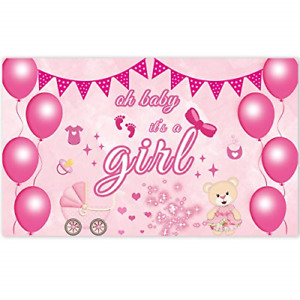 Ushinemi Its a Girl Banner for Baby Shower Outdoor Yard Sign, Pink, 6X3.6 Feet