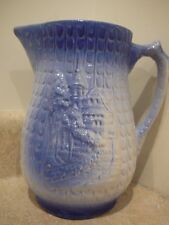 VINTAGE BLUE WHITE STONEWARE MILK WATER PITCHER MONASTERY CASTLE MOUNTAINSIDE