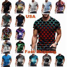 Men T-Shirt 3D Graphic Print Fashion Casual Fitness Print Tee Shirt Short Sleeve