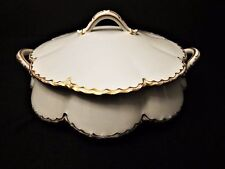 Haviland & Co Limoges Round Covered Vegetable Dish White with Gold Trim