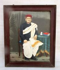 Vintage Rare Indian Tribal Old Man Thakur Artist Hand Oil Painting On Board