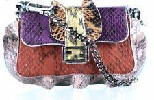 Fendi Ruffle Snakeskin Mini Baguette Crossbody Bag