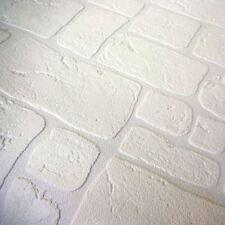 Paintable Brick Slate 3D Effect Wallpaper Blown Textured Vinyl White AS Creation