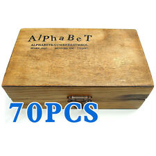 70pcs Rubber Stamps Set Vintage Wooden Box Case Alphabet Letters Number Craft T8