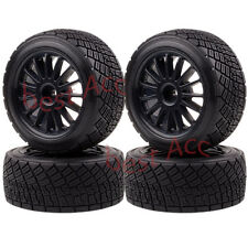 """4× 2.2"""" Wheel Rims & Tires BLACK 1/8 RC HPI RTR WR8 3.0 Ford Fiesta Flux Rally"""