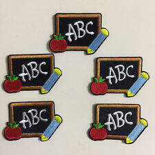 5pcs Back to School ABC Black Board apple Iron On Patches Appliques Sewing Craft