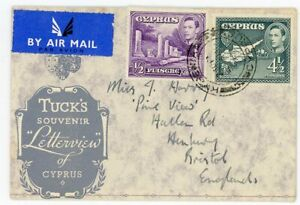 CYPRUS SCARCE 1953 mailed TUCK'S LETTERVIEW OF CYPRUS with KGVI ½ and 4½ piastre