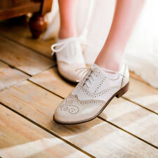 New Women Handmade Classic Brogues Wing Tip White Leather Shoes. Girl shoes