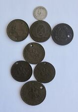 Eight Old Canada Coins / Tokens~~Copper & Silver~~Half Penny, Penny, Dime