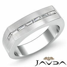 6mm Hombre Medio Alianza Excelente Baguette Anillo con Diamante 18Ct Oro Blanco