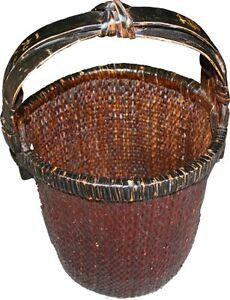 Original Chinese Antique Rattan Carrying Basket (31-075)
