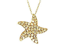 "Swarovski Crystal Starfish Pendant 18K Gold / Sterling Silver 18"" Free Shipping"