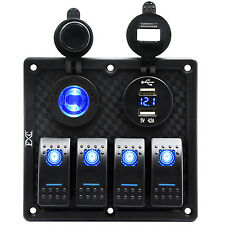4 Gang LED Waterproof USB Toggle Automotive Switch Panel RV Marine Boat Rocker