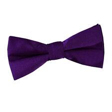 DQT Satin Plain Solid Purple Communion Page Boys Pre-Tied Bow Tie