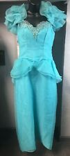 Vintage Prom Dress Costume Turquoise With Corset Lace Up Back Ruffles Sequins