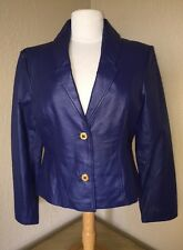 Womens Sz Small Terry Lewis 2 Button Blue 100% Leather Jacket Coat Tailored Fit