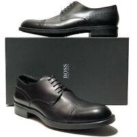 New HUGO BOSS ITALY Black Leather Captoe Men's Oxford Dress Formal Derby Casual
