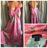 VTG Jones New York Nightgown Shiny Pink Satin Blue Floral Flowers Long Gown XL