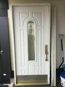 """Entry Door 36"""" x 80"""" House Front Stanley Door Brickmold Ascot BrassStyleTJ71"""