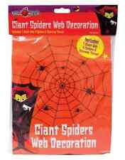Halloween Giant Nylon Black Spider Web Decoration With Spiders Indoor Outdoor