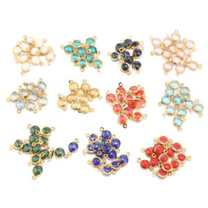 10pcs Stainless Steel Glass Crystal Stones Gold Connectors for Jewelry Making