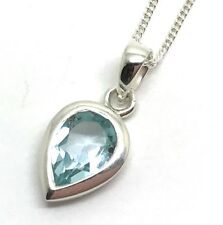 Sky blue topaz gemstone pear pendant necklace, solid Sterling Silver, New, UK.