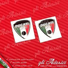 2 Adesivi Resinati Sticker 3D Ducati Corse Old Tricolore Italia 40 mm
